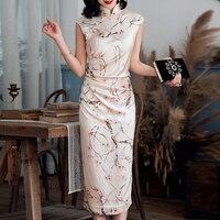 2019 платье сексуальный модный принт темперамент разрез без рукавов Для женщин Кнопка с высоким, плотно облегающим шею воротником китайцы Ст