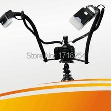 Камера DSLR двойной башмак Макро Вспышка Кронштейн для Canon 700d 5d3 5d2 1dx 650D 6D 70D 650D 60D 50D Фото Лампа для вспышки ttl/M