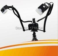 Twin podwójnego ramienia buta makro aparat dslr flash bracket dla canon 700d 1dx 650D 6D 5d2 5d3 70D 650D 60D 50D Flashgun Speedlite TTL/M