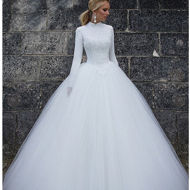 Angel Tree Vintage Muslim Bride Wedding Dress Long Sleeves Princess ...