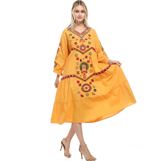 736e90d004b Womens Casual 3 4 Sleeve Floral Embroidered Mexican Peasant Dressy Tops  Blouses Shirt Dress Tunic