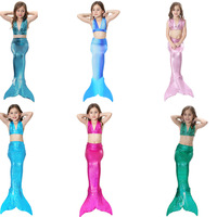3Pcs Girl S Sexy Bikini Mermaid Tails Swimming Costume For Kid Cosplay Cloth Summer Dress