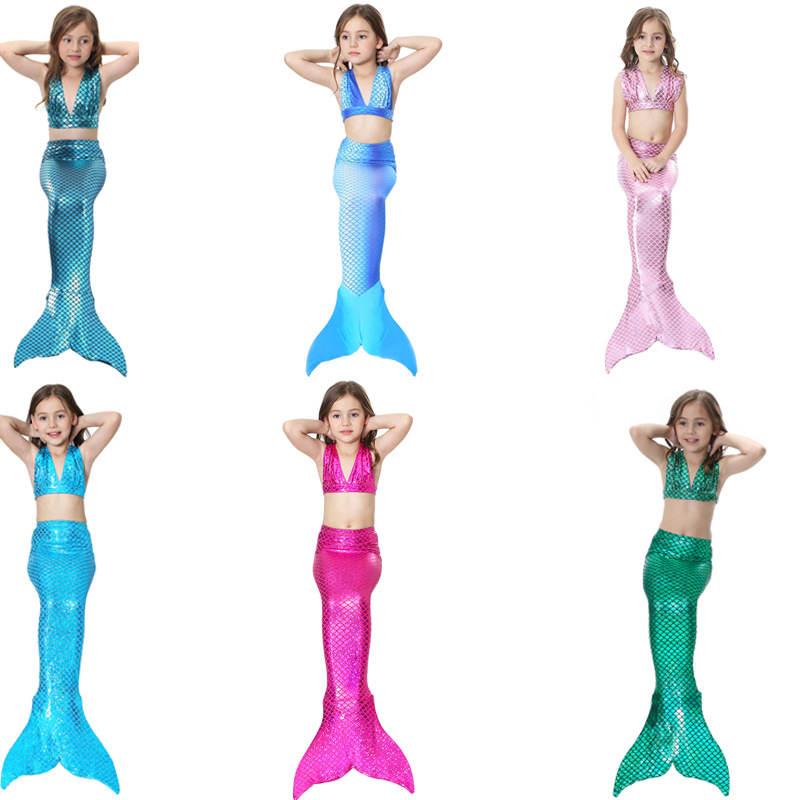 3Pcs Girl's Sexy Bikini Mermaid Tails Swimming Costume For Kid Cosplay  Fancy Swimmable Wear Costumes
