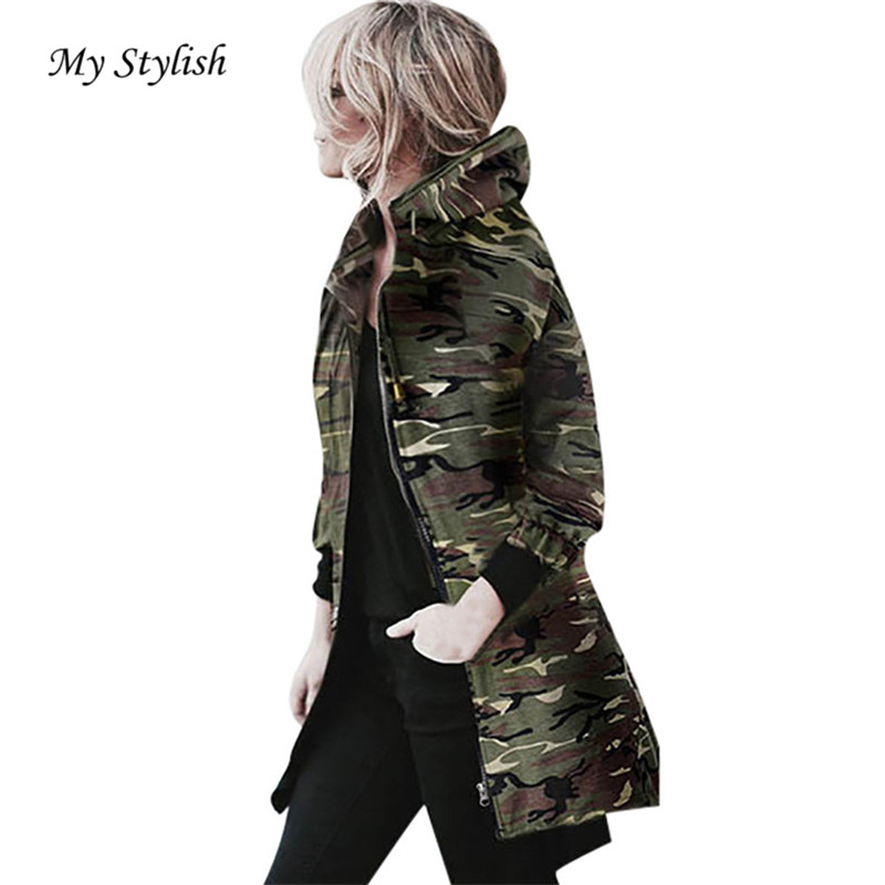 da315537d0d01 Autumn Winter Womens Hooded Long Sleeve Coat Jacket Windbreaker Casual  Camouflage Outwear Female Bomber jacket top