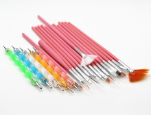 20pieces a set Nail Art Design Set Dotting Painting Drawing Polish Brush Pen Tools Nail Polish Art Brush