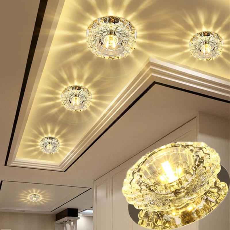 Light In The Ceiling: LED Crystal Ceiling Light 3W5W Modern LED Flush Mount