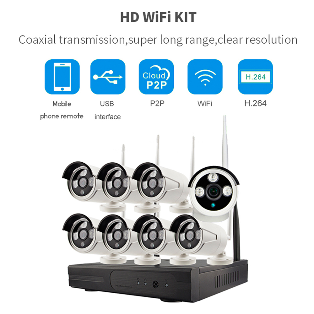 PUAroom 8CH Full HD Wireless IP66 waterproof Outdoor network camera with H.264 NVR WIFI Security Cameras Systems
