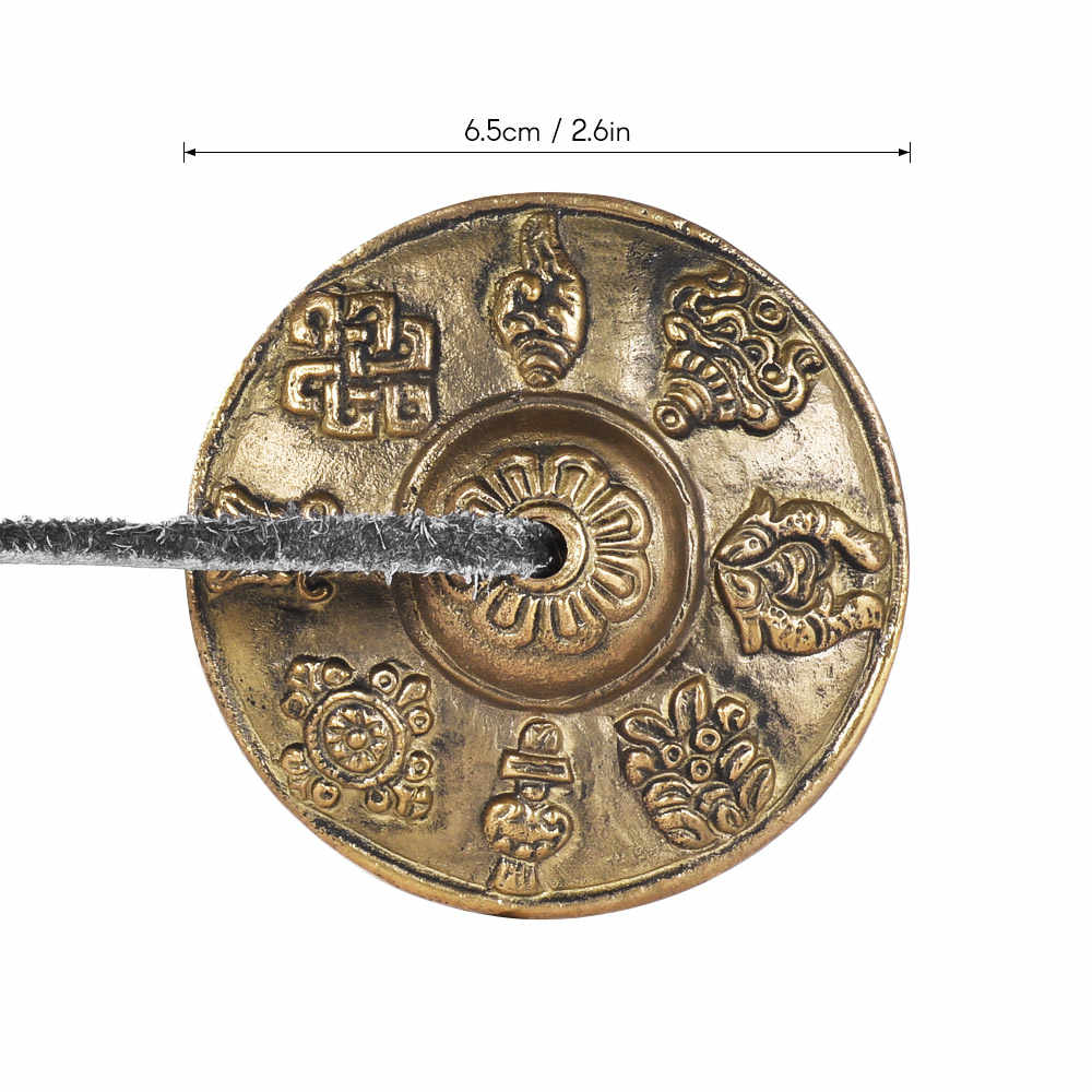 2.6in/6.5 cm Artesanais Tibetano Tingsha Sino de Prato com Os Oito Símbolos Auspiciosos Budista Meditação