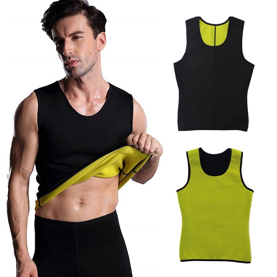 Men/'s Gym Neoprene Vest Sweat Sauna T-Shirt Thermo Body Shaper Slimming Cincher