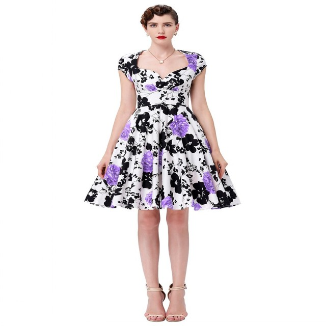 f729d1cb20a Beautiful Robe Short Cotton 50s Rockabilly Dress Casual Women Vestido  Vintage Pin Up Swing Style Floral Printed Summer Dresses