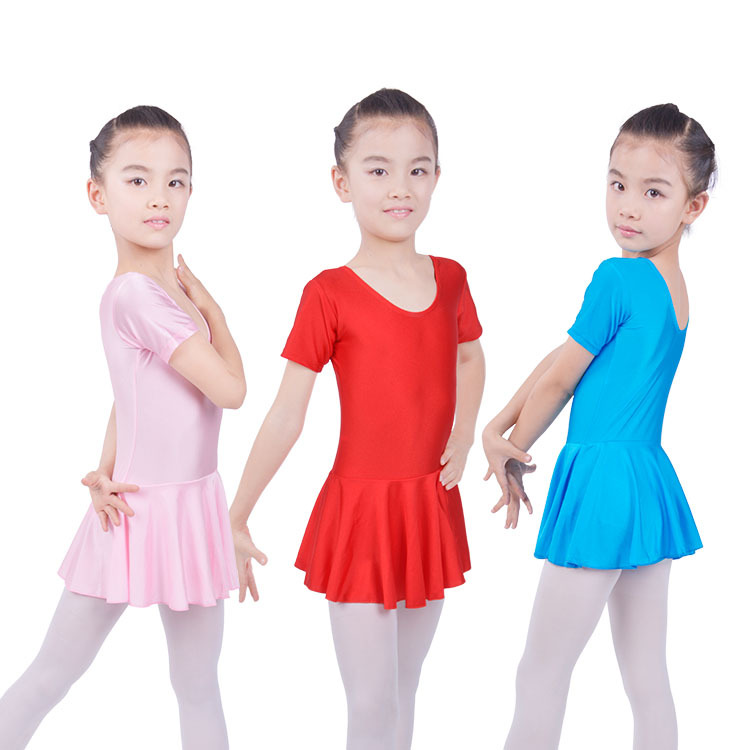 Kids Girls Gymnastics Short Sleeve Ballet Dance Outfit Leotards With Skirt Dress For Girls Competition Show Dancing Costume Wear