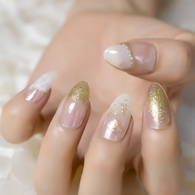 Glitter French Nail Design Kit Clear White Point Medium Full Wrap