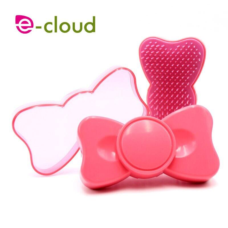 1 pz portatile bowknot capelli spazzola di capelli pettine per le ragazze dei bambini di plastica