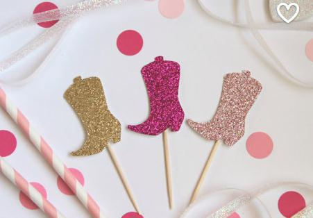 Glitter Boots Cupcake Toppers Cowgirl Cowboy Western Country Themed Birthday Shower Party Food Picks In Cake Decorating Supplies From Home Garden On