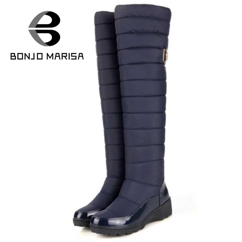 BONJOMARISA 2016 Over Knee Thigh High Boots Women Winter Shoes With Fur Platform Shoes Black Blue