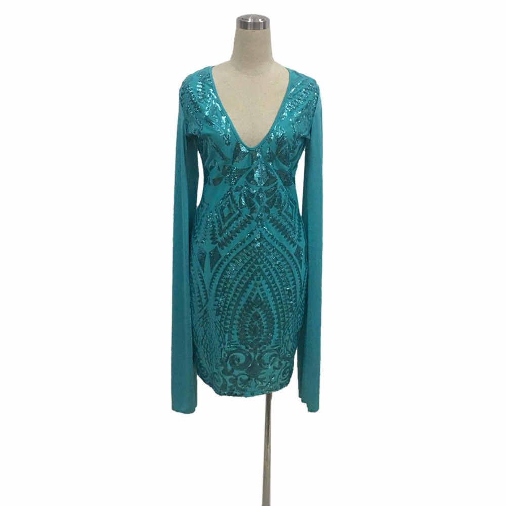 ... Sexy Club Dress 2017 Autumn Women Long Sleeve Cloak Cape Bodycon Sequin  Dress Sexy Blue Deep ... cebd922c3a42