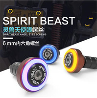 SPIRIT BEAST Motorcycle Lights Decorative Electric Vehicle Accessories Modified Scooter Screw License Plate Lights Led Angel
