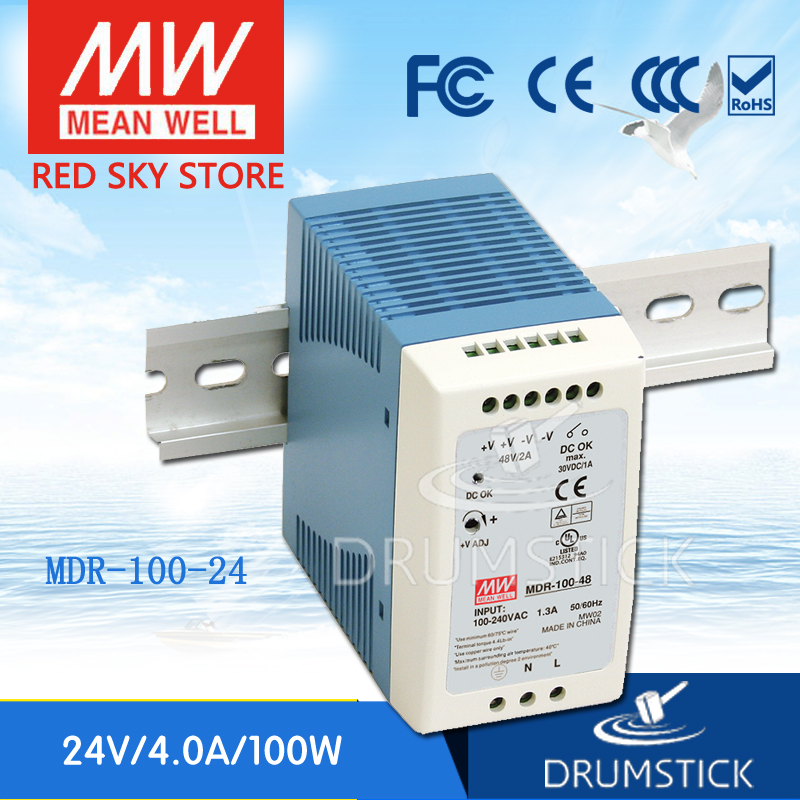 MEAN WELL MDR-100-24 24V 4A meanwell MDR-100 24V 90W Single Output Industrial DIN Rail Power Supply mean well original mdr 100 12 12v 7 5a meanwell mdr 100 12v 90w single output industrial din rail power supply