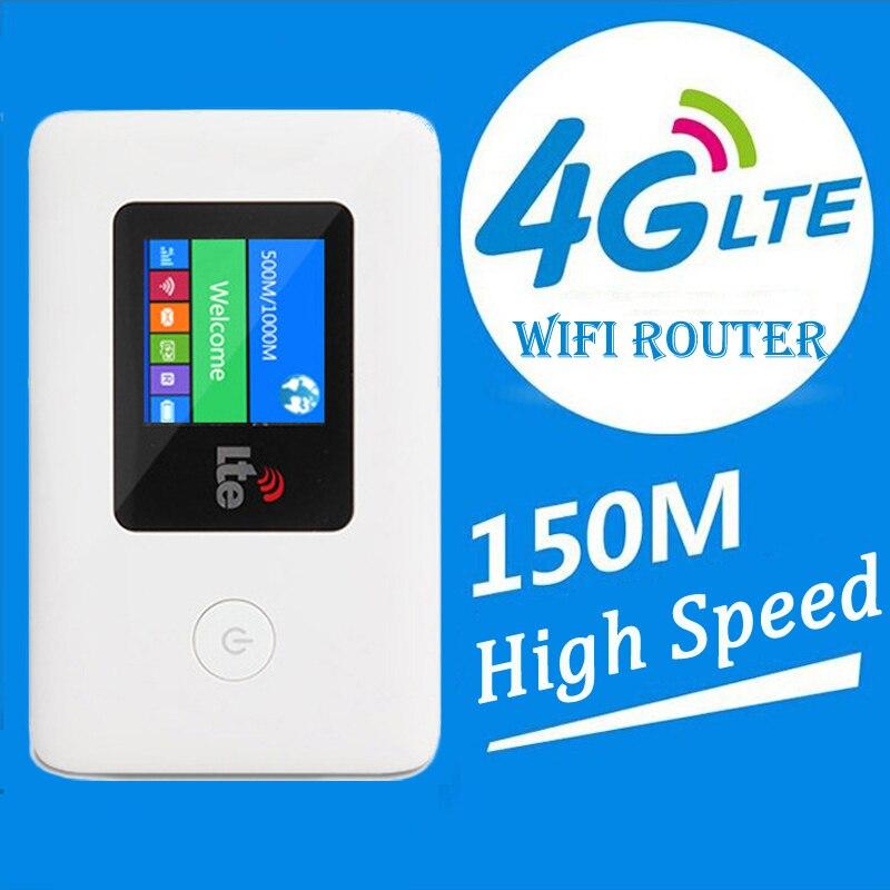 Partenaire de voyage 150 Mbps 4G Wifi routeur 3G SIM Mobile Wifi Hotspot écran LCD avec batterie 2000 mAh pour l'extérieur jusqu'à 10 utilisateurs Wifi