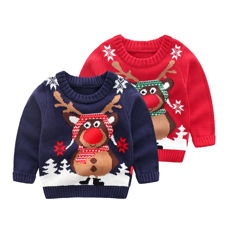 Christmas Knitted Baby Clothes Boys Sweaters Cartoon Elk Kids Cardigan Sweater Baby Boy Pullover Knitted Sweater