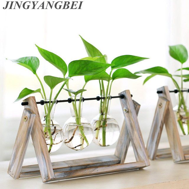 Creative style glass tabletop plant bonsai flower wedding decorative creative style glass tabletop plant bonsai flower wedding decorative vase with wooden tray home decoration accessories junglespirit Image collections