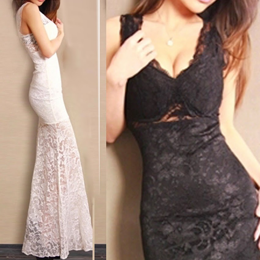 Fashion Bodycon Long Lace Party Dresses Womens V-neck Prom Evening Party Bridesmaid Wedding Maxi Dress
