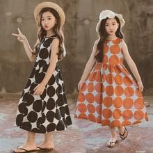 Dziewczęca letnia sukienka 2020 nowa plażowa bawełniana kropka dziecięca sukienka maxi sukienka dla matki i córki maluch Sundress Teen Clothes,#5077