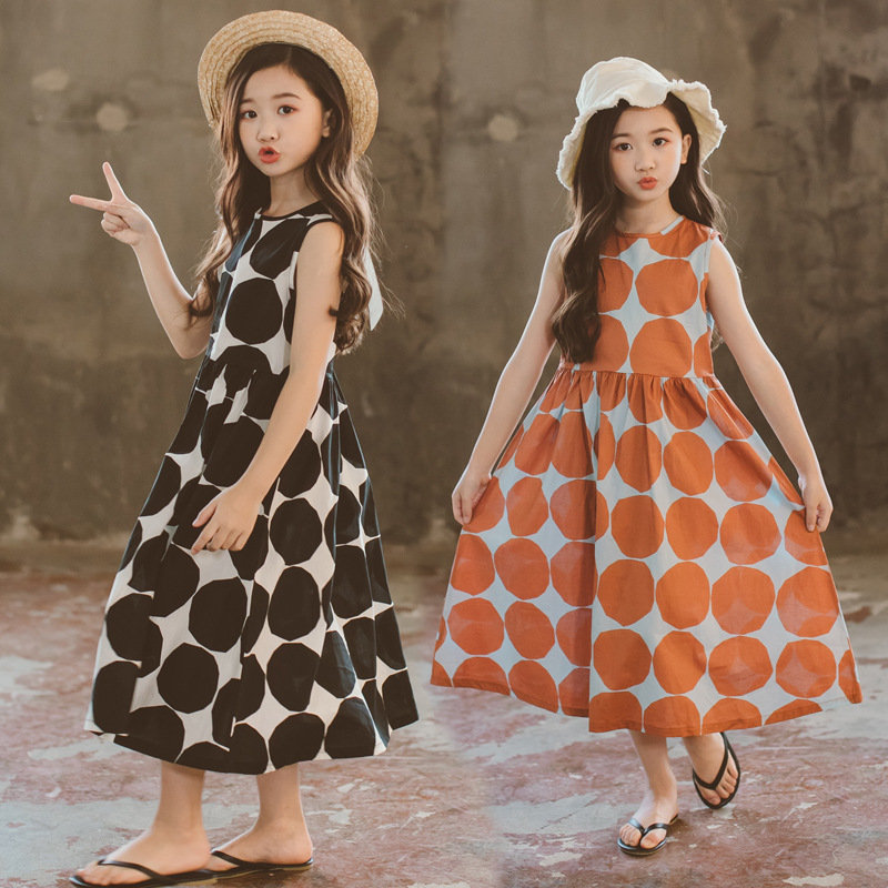 Girls Summer Dress 2020 New Beach Cotton dot Children maxi Dress Mother and Daughter Dress Toddler Sundress Teen Clothes,#5077