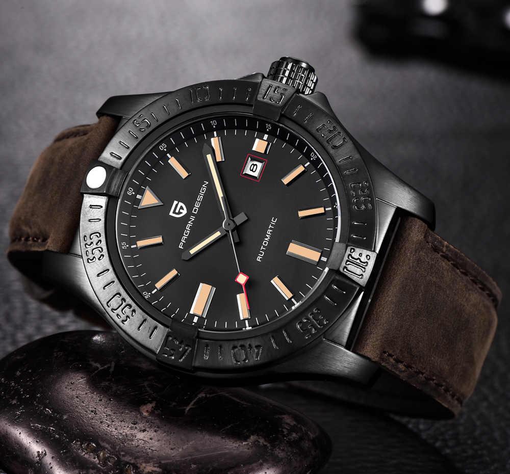 Reloj Automático de esfera grande de lujo de cuero genuino 30M resistente al agua relojes mecánicos clásicos de marca nueva de diseño PAGANI