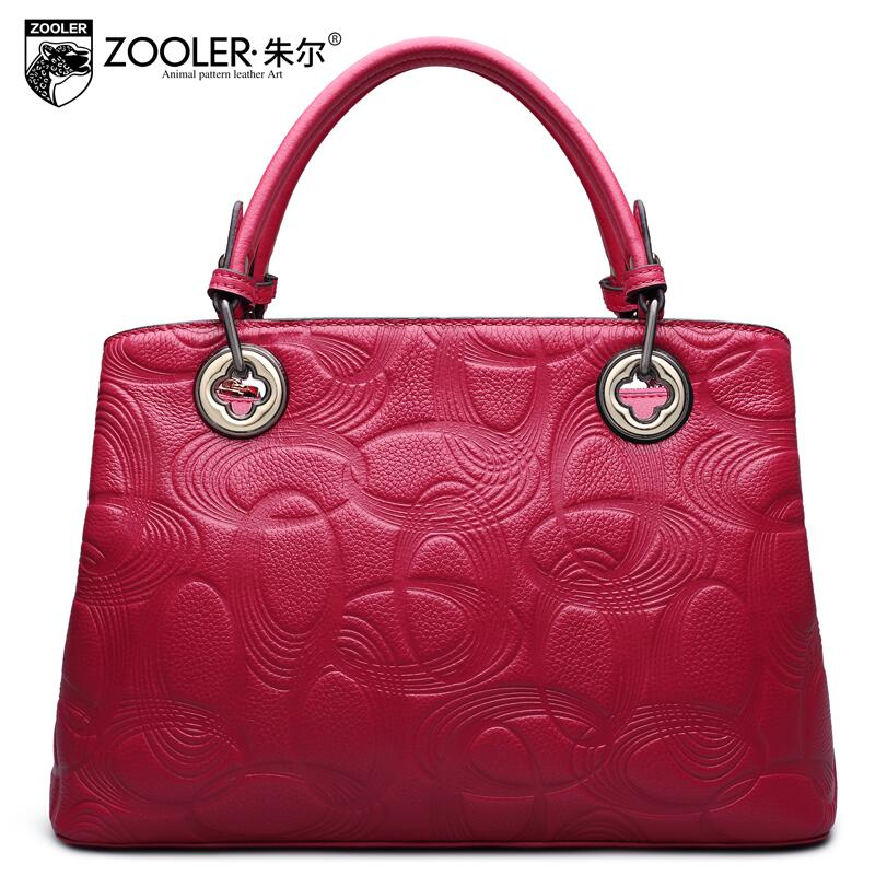 2016 New zooler genuine leather women bag brand fashion embossing quality cowhide women leather font b