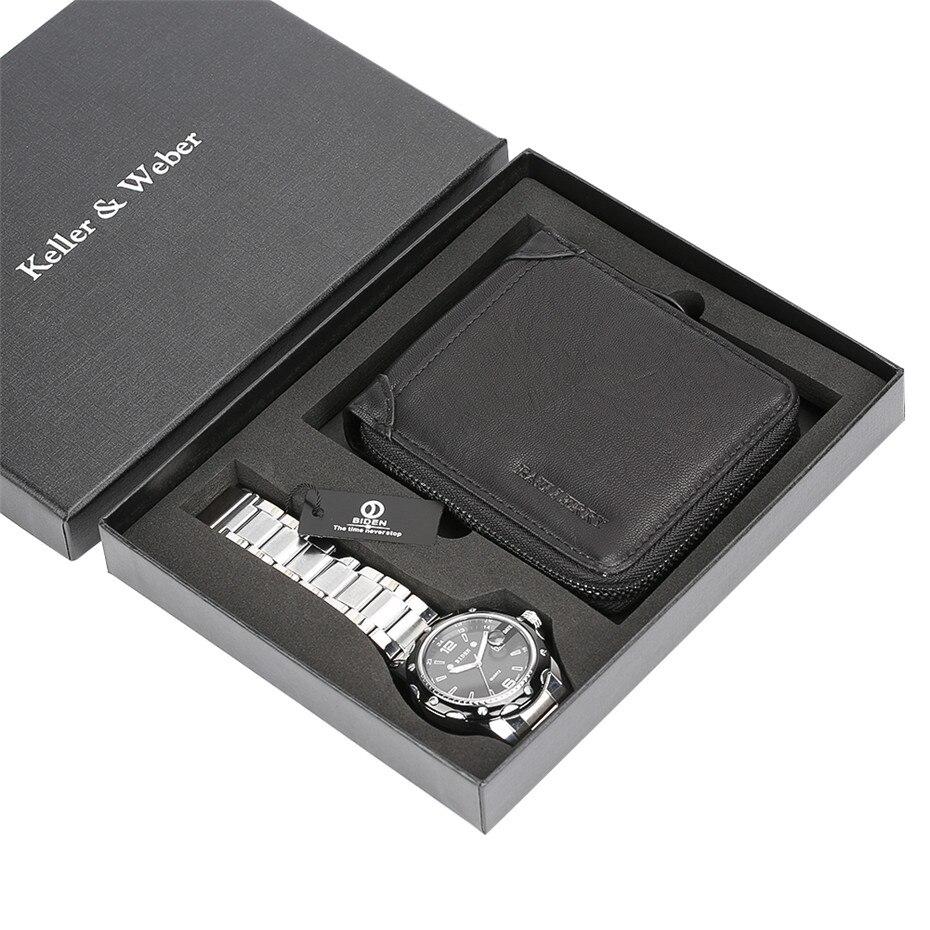 все цены на reloj Men Watches Quartz Steel Wristwatch Wallet Luxury Gift Set for Male reloj masculino Mens Bangle Watch Present Gift Friend