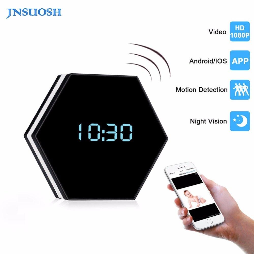 Mini Camera Clock-1080P H.264 Night Color Mirror Electronic Wireless Camera IR Night Vision IP Clock Camera DV DVR Camcorder цена