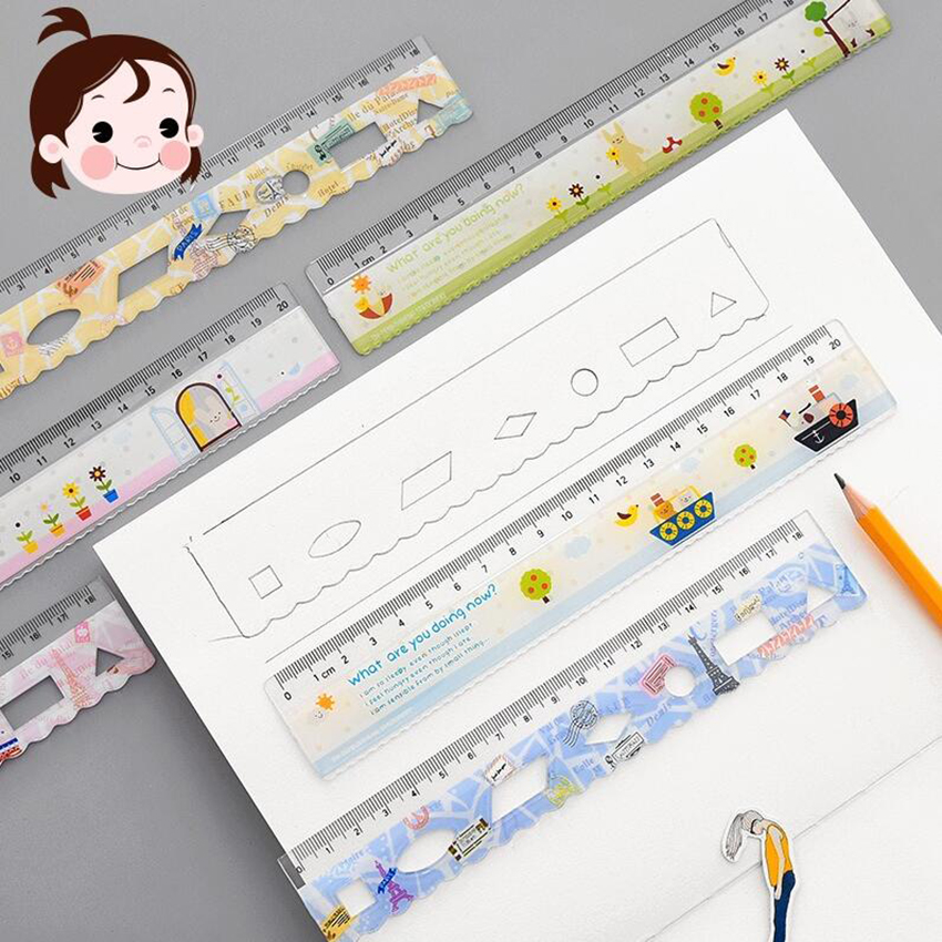1PC 18/20cm Kawaii Cute Stationery Colorful Wood Ruler Sewing Ruler Office School Accessories Measuring Tool