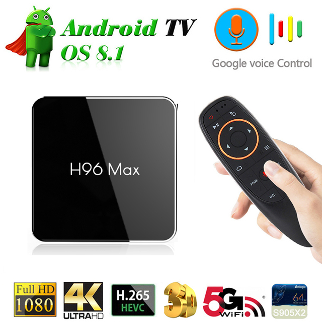 US $54 49 26% OFF|H96 MAX TV Box Android 8 1 New Chip Amlogic S905X2  4GB/32GB Smart Set Top Box 5G Wifi 4K H 265 USB3 0 Voice Control Media  Player-in