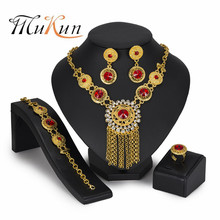 MUKUN 2019 Dubai gold colorful Jewelry Sets Brand Nigerian wedding women accessories jewelry set Wholesale statement