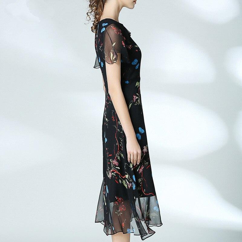 Soie Courtes Papillon Imprimé longueur Élégant À 2017 Mince Vintage Floral Genou Dress Manches 100 Femmes D'été dx4nqfA8d