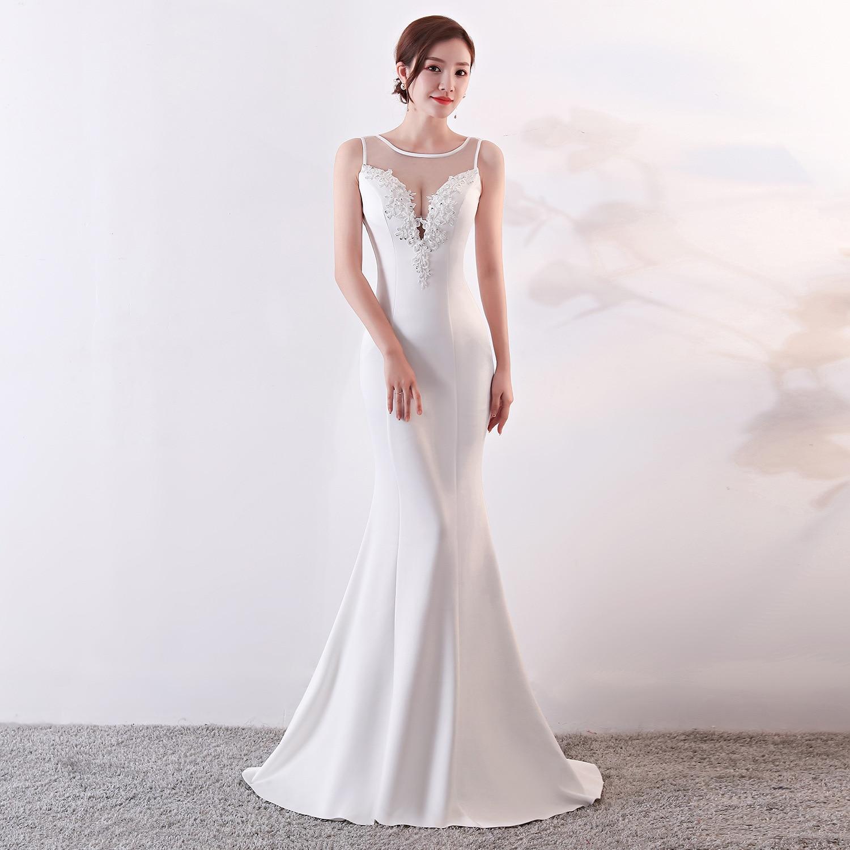 Robe de soirée 2019 blanc Appliques Floral perles Illusion sans manches trompette robes de soirée robe de soirée