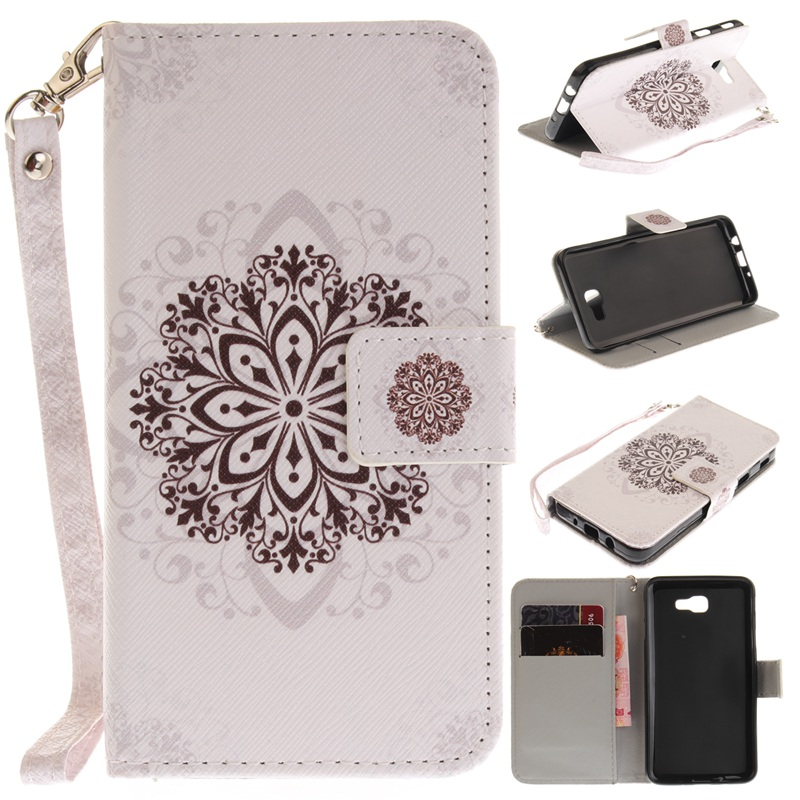 For Samsung Galaxy J5 Prime Flip Case PU Leather Wallet Cases For J5 Prime Stand Cover Panda Owl Flower Pattern+ Strap