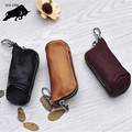 ZYD-COOL Key Holder Genuine Cow Leather Buckets key cases Zipped Key Pouch Keychain Auto Car Key Cases Bag
