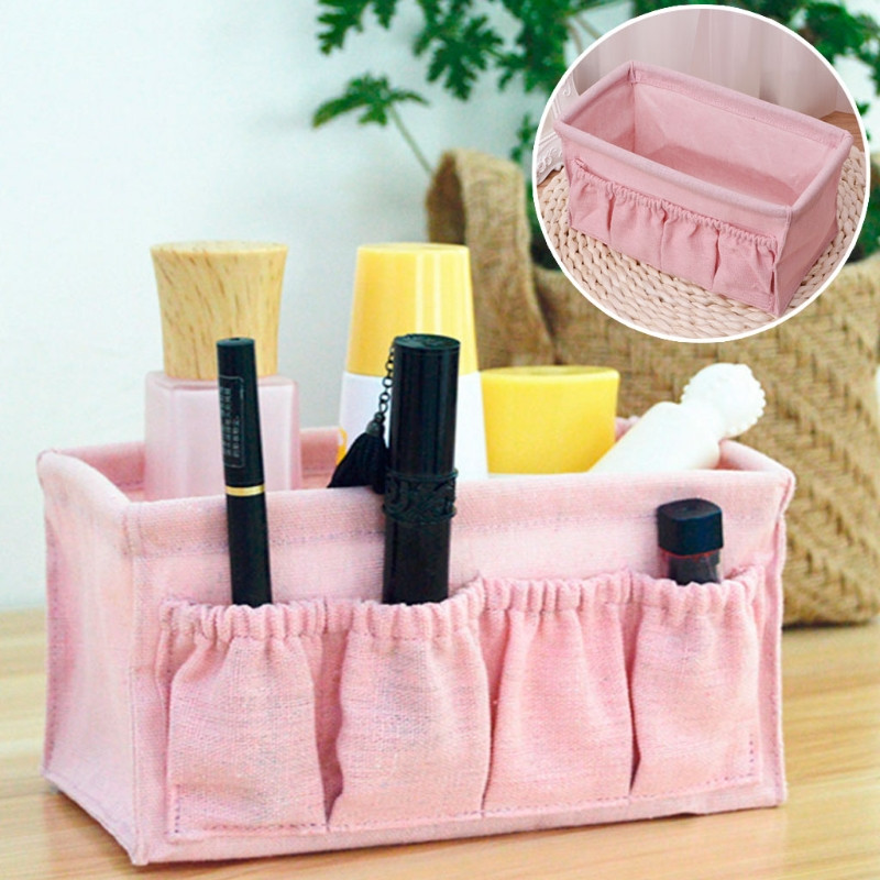 Home Foldable Makeup Organizer Multifunction Linen Cosmetic Storage Box Desktop Dressing Jewelry Small Storage Box
