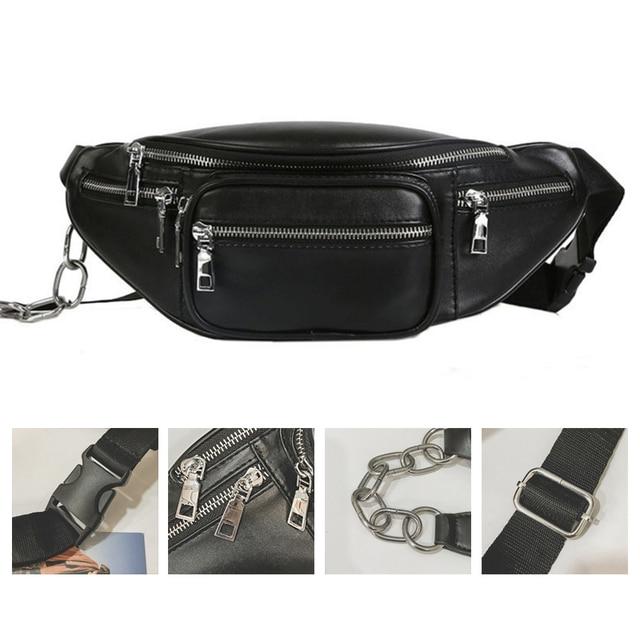 Laamei Brand Soft PU Leather Women Waist Bags Casual Black Chest Bag Anti Theft Phone Holder Shoulder Bag Waist Packs Girls