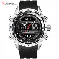 Hooktooth SHARK Sport Watch For Men Double Movement Chronograph Alarm LCD Male Clock 3ATM Water Resistant