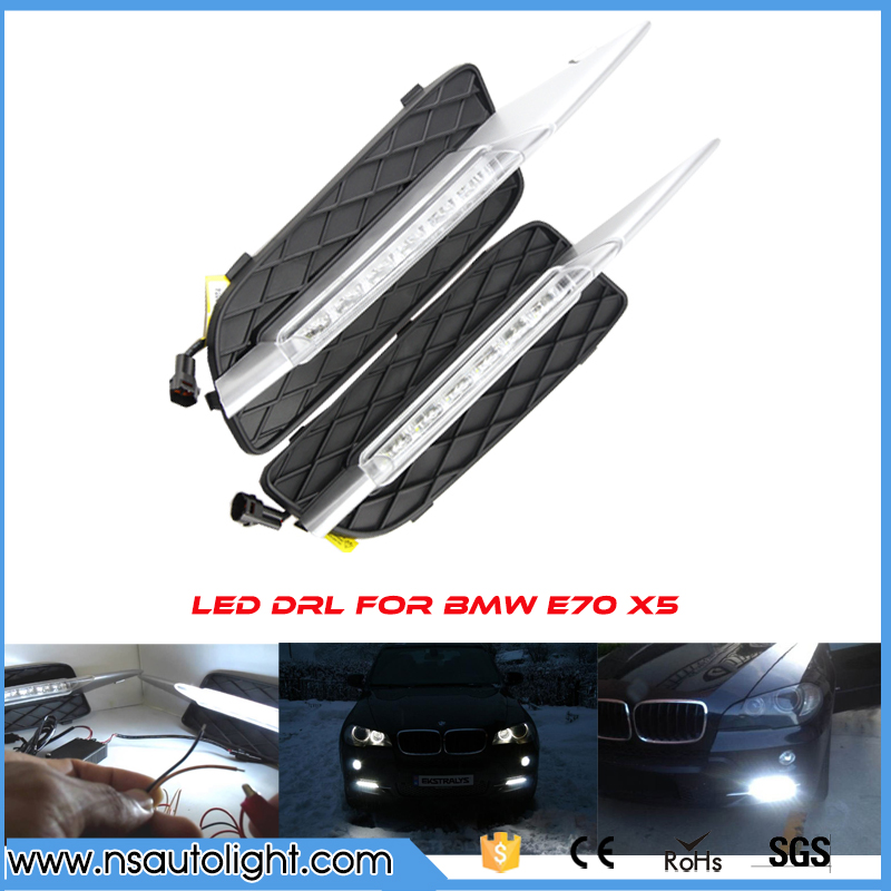 New Hot 12pcs Cree chip leds daytime running lights LED DRL light bar parking car fog lights 12V DC Head Lamp for E70 X5 07-09 super white led daytime running lights case for ford fiesta 2009 2013 drl light bar parking car fog lights 12v dc head lamp