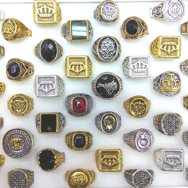 50pcs lot Gold Color Silver Color Square Round Shape Mixed Designs Men s Rings Wholesale