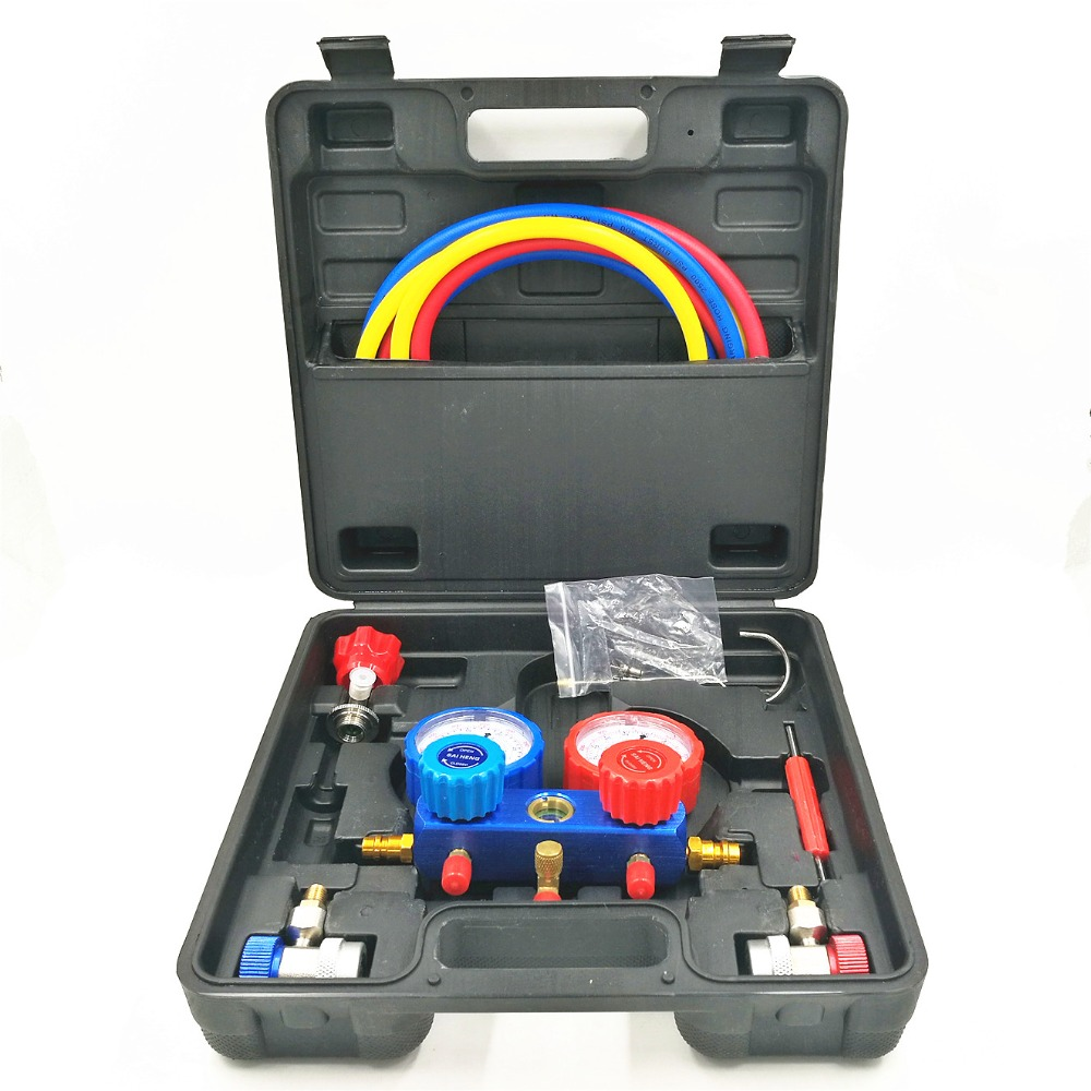 Car Air Conditioner R134A Manifold Gauges Freon Refrigerant Pressure gauge Tricolor Fluoridated Tube Hoses 2pc Quick