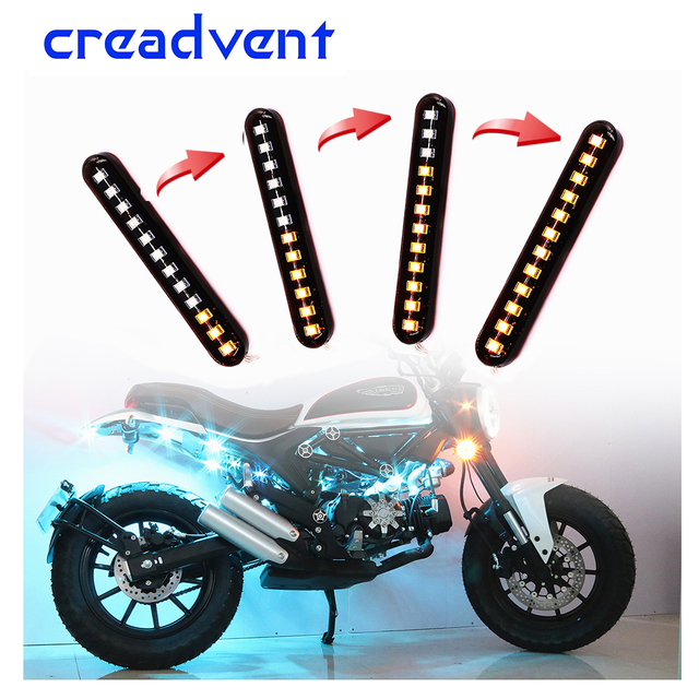 2 Pcs Flowing Water Flicker Led Motorcycle License Plate Light