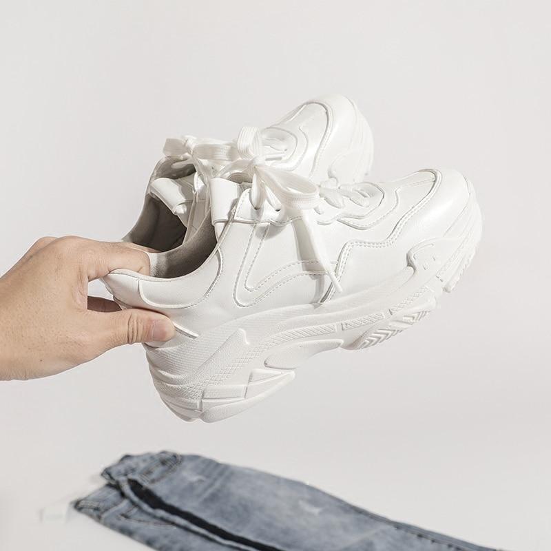 Lady Mesh Compensé Sneakers Casual Mode Femmes Plate Swyivy Blanc Pur Femme Chaussures 2019 Sauvage White Nouvelle forme Chunky Été white Printemps Talon DH2EI9