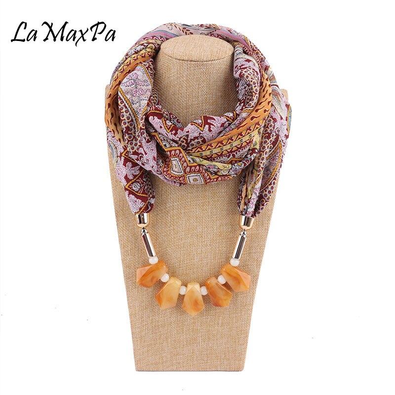 LaMaxPa 2018 New Fashion Women Jewelry Pendant Chiffon   Scarf   Bohemia Folk Custom Shawls and   Wraps   Soft Female Accessories