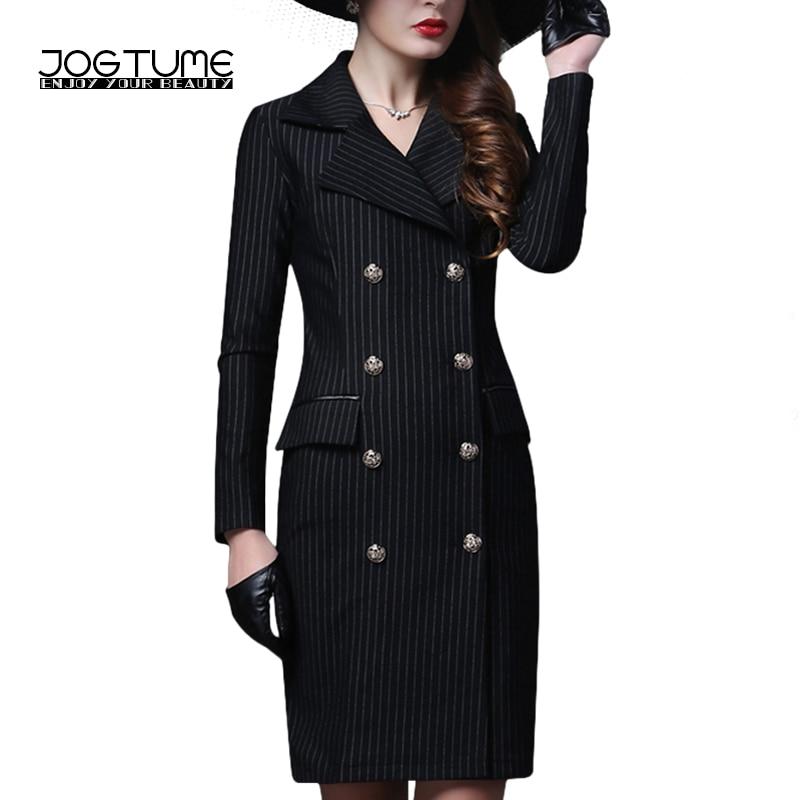 JOGTUME Czarny Slim Pencil Dress Kobiety Jesień Zima Moda Elastyczna Pokój Łuszcz Sukienka W Paski Z Długim Rękawem Formalna Urząd Pracy