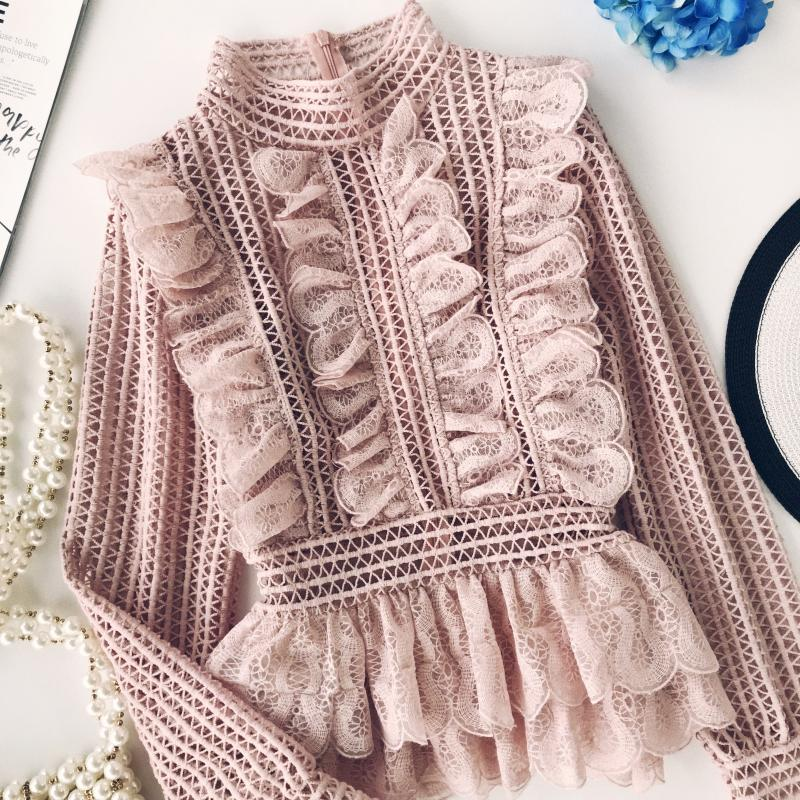 Sweet Hollow Lace Ruffled Shirts Stand Collar Spliced Lace Pleated Blouses 3D Lotus Decor Multi-Layers Long Sleeved OL Tops